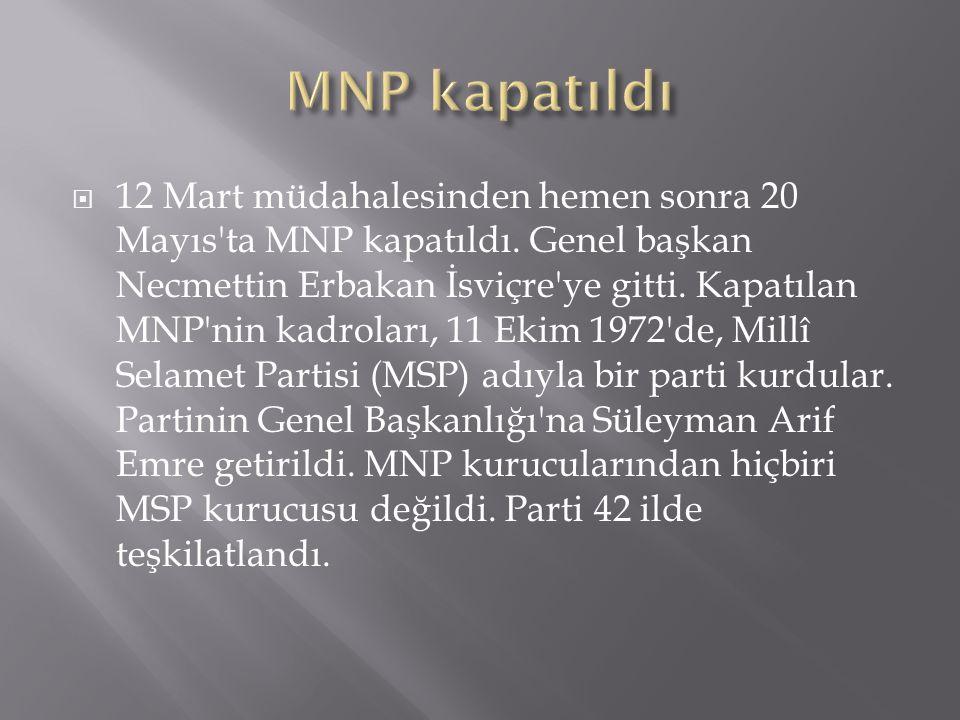  12 Mart müdahalesinden hemen sonra 20 Mayıs'ta MNP kapatıldı. Genel başkan Necmettin Erbakan İsviçre'ye gitti. Kapatılan MNP'nin kadroları, 11 Ekim