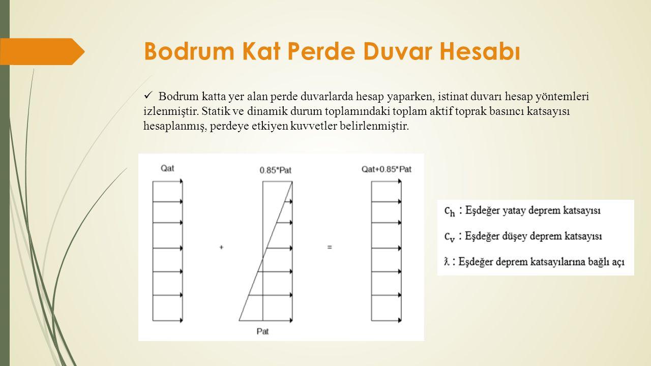 Bodrum Kat Perde Duvar Hesabı  Bodrum katta yer alan perde duvarlarda hesap yaparken, istinat duvarı hesap yöntemleri izlenmiştir. Statik ve dinamik