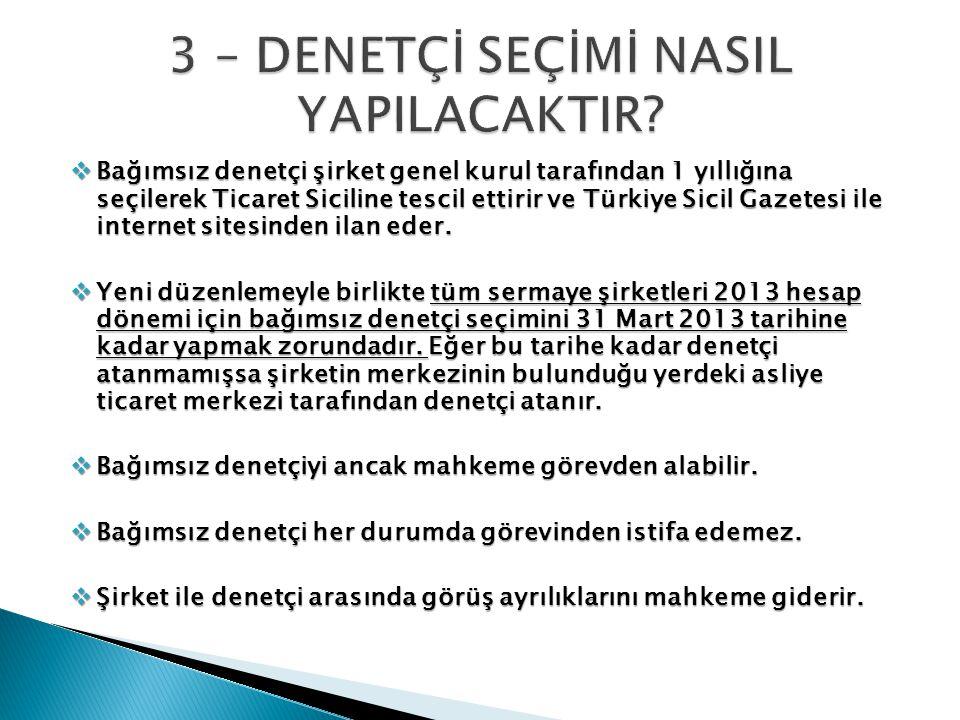  Bağımsız denetçi şirket genel kurul tarafından 1 yıllığına seçilerek Ticaret Siciline tescil ettirir ve Türkiye Sicil Gazetesi ile internet sitesinden ilan eder.