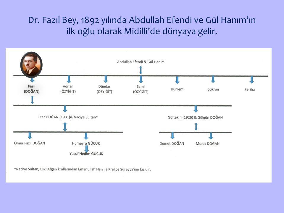 Dr. Fazıl Bey, 1892 yılında Abdullah Efendi ve Gül Hanım'ın ilk oğlu olarak Midilli'de dünyaya gelir.