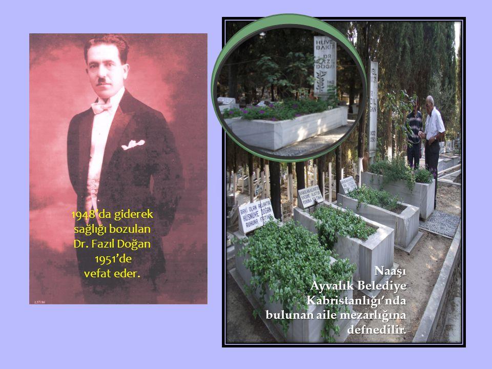 1948'da giderek sağlığı bozulan Dr.Fazıl Doğan 1951'de vefat eder.