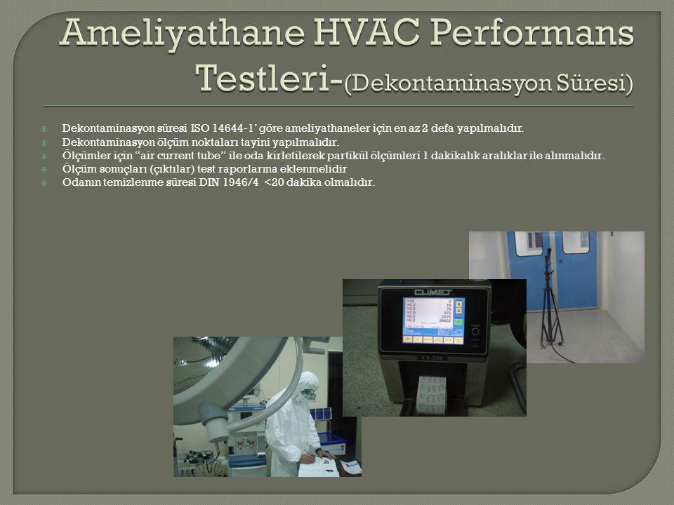  Dekontaminasyon süresi ISO 14644-1' göre ameliyathaneler için en az 2 defa yapılmalıdır.