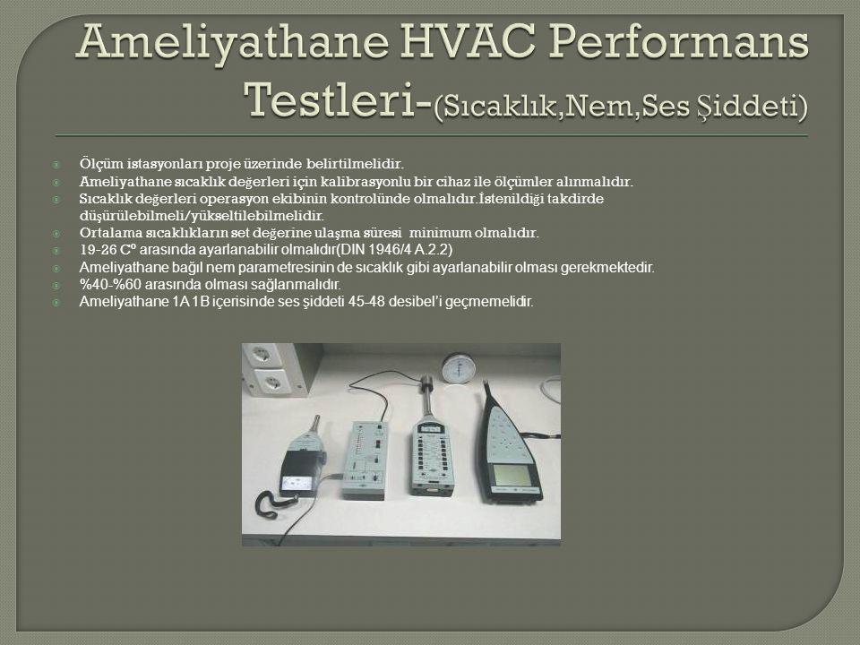  Ölçüm istasyonları proje üzerinde belirtilmelidir.  Ameliyathane sıcaklık de ğ erleri için kalibrasyonlu bir cihaz ile ölçümler alınmalıdır.  Sıca