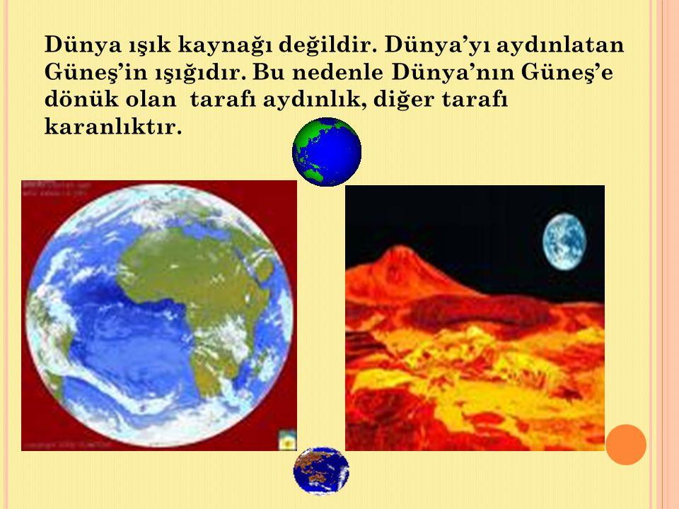 Dünya'nın aydınlık olan tarafında gündüz, karanlık olan tarafında gece yaşanır.