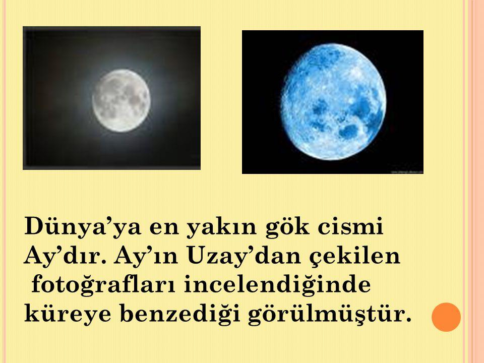 Dünya'ya en yakın gök cismi Ay'dır.