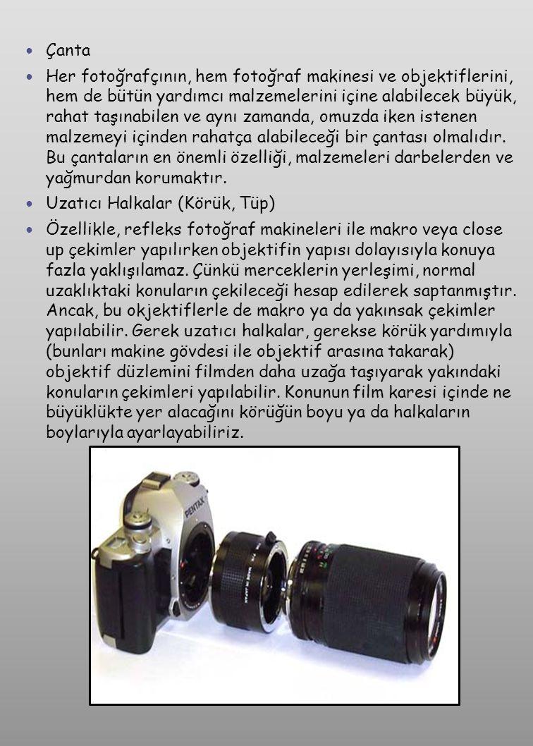 Extender (Tele Converter)  Körük gibi, fotoğraf makinesin ile objektif arasına takılır ve önündeki objektifin odak uzaklığını artırır.