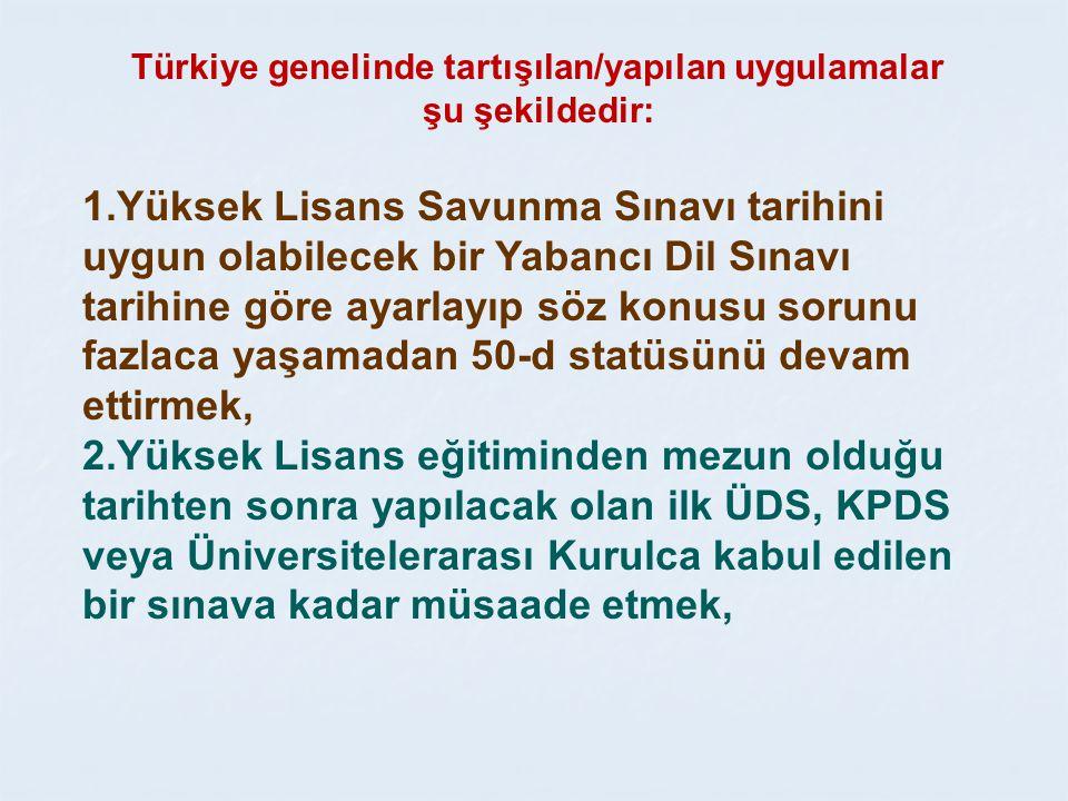 Türkiye genelinde tartışılan/yapılan uygulamalar şu şekildedir: 1.Yüksek Lisans Savunma Sınavı tarihini uygun olabilecek bir Yabancı Dil Sınavı tarihine göre ayarlayıp söz konusu sorunu fazlaca yaşamadan 50-d statüsünü devam ettirmek, 2.Yüksek Lisans eğitiminden mezun olduğu tarihten sonra yapılacak olan ilk ÜDS, KPDS veya Üniversitelerarası Kurulca kabul edilen bir sınava kadar müsaade etmek,