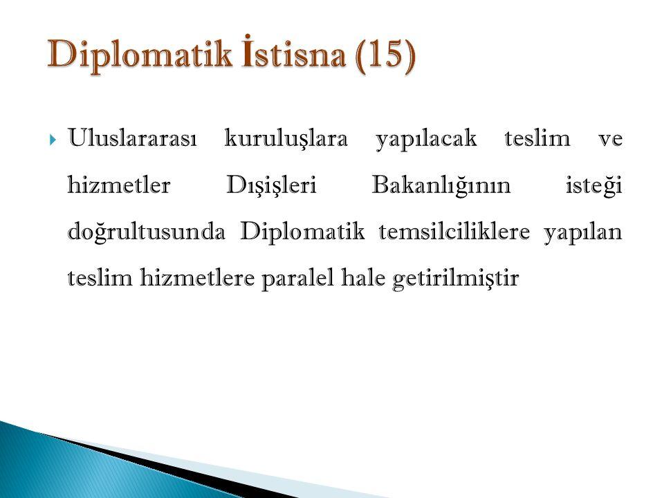  Uluslararası kurulu ş lara yapılacak teslim ve hizmetler Dı ş i ş leri Bakanlı ğ ının iste ğ i do ğ rultusunda Diplomatik temsilciliklere yapılan teslim hizmetlere paralel hale getirilmi ş tir