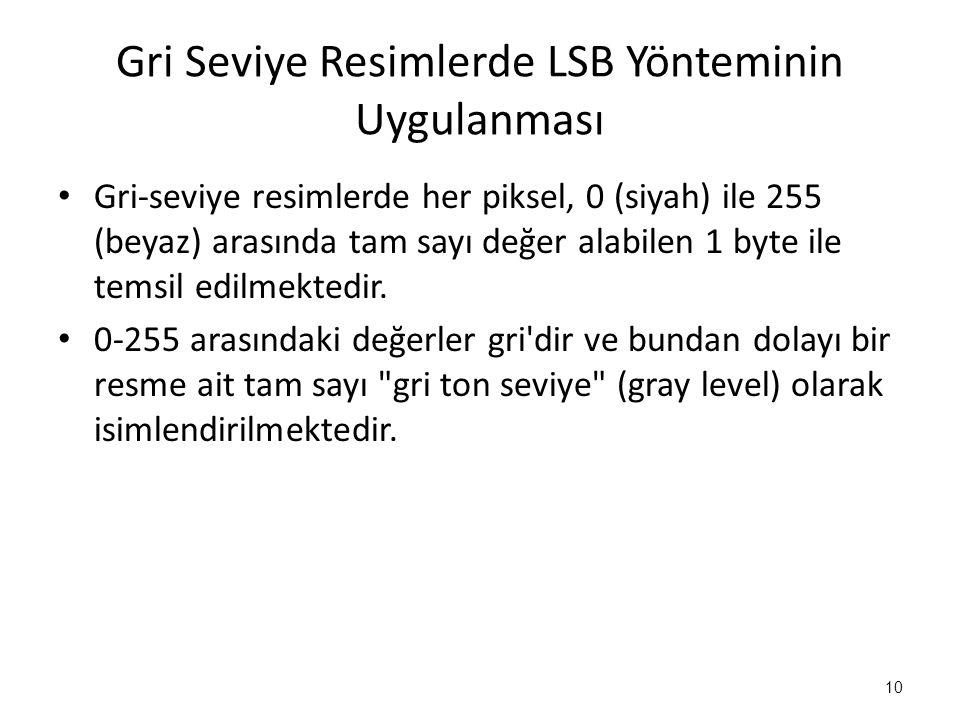 Gri Seviye Resimlerde LSB Yönteminin Uygulanması • Gri-seviye resimlerde her piksel, 0 (siyah) ile 255 (beyaz) arasında tam sayı değer alabilen 1 byte