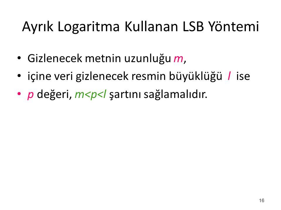 Ayrık Logaritma Kullanan LSB Yöntemi • Gizlenecek metnin uzunluğu m, • içine veri gizlenecek resmin büyüklüğü l ise • p değeri, m<p<l şartını sağlamal
