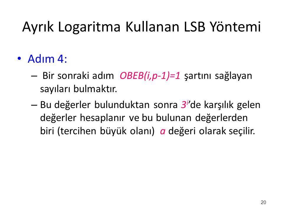 Ayrık Logaritma Kullanan LSB Yöntemi • Adım 4: – Bir sonraki adım OBEB(i,p-1)=1 şartını sağlayan sayıları bulmaktır. – Bu değerler bulunduktan sonra 3