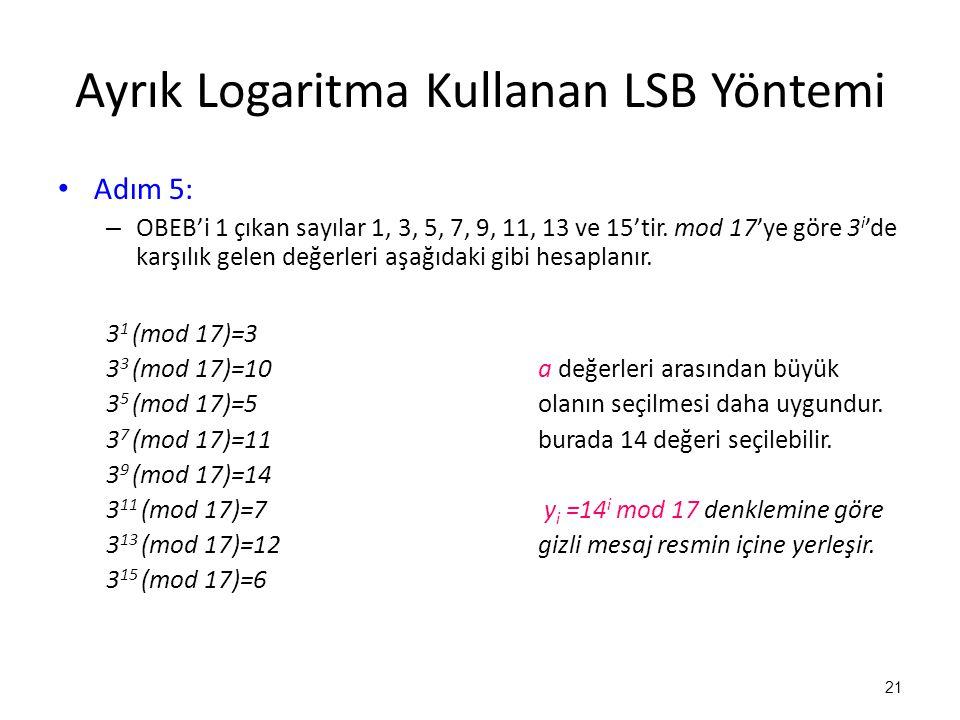 Ayrık Logaritma Kullanan LSB Yöntemi • Adım 5: – OBEB'i 1 çıkan sayılar 1, 3, 5, 7, 9, 11, 13 ve 15'tir. mod 17'ye göre 3 i 'de karşılık gelen değerle