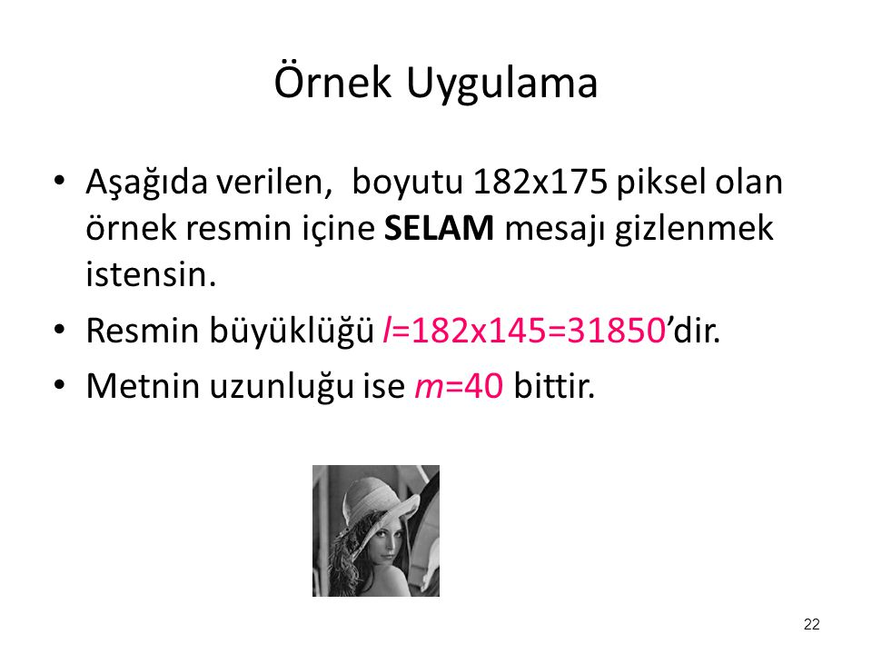 Örnek Uygulama • Aşağıda verilen, boyutu 182x175 piksel olan örnek resmin içine SELAM mesajı gizlenmek istensin. • Resmin büyüklüğü l=182x145=31850'di