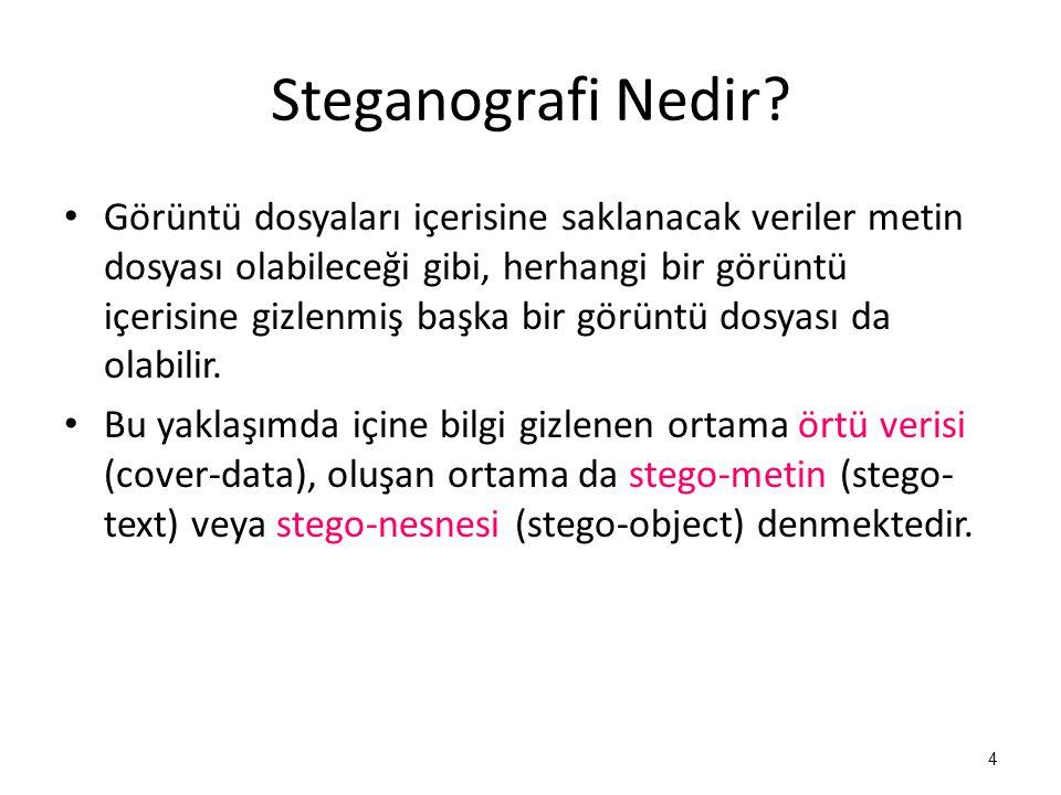 Steganografi Nedir? • Görüntü dosyaları içerisine saklanacak veriler metin dosyası olabileceği gibi, herhangi bir görüntü içerisine gizlenmiş başka bi