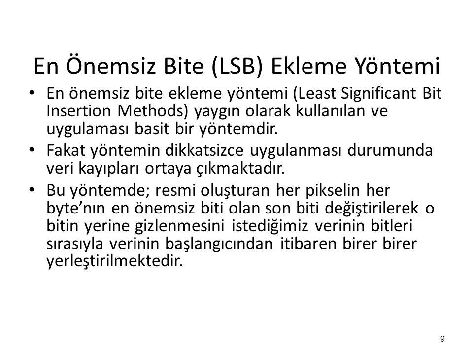 En Önemsiz Bite (LSB) Ekleme Yöntemi • En önemsiz bite ekleme yöntemi (Least Significant Bit Insertion Methods) yaygın olarak kullanılan ve uygulaması