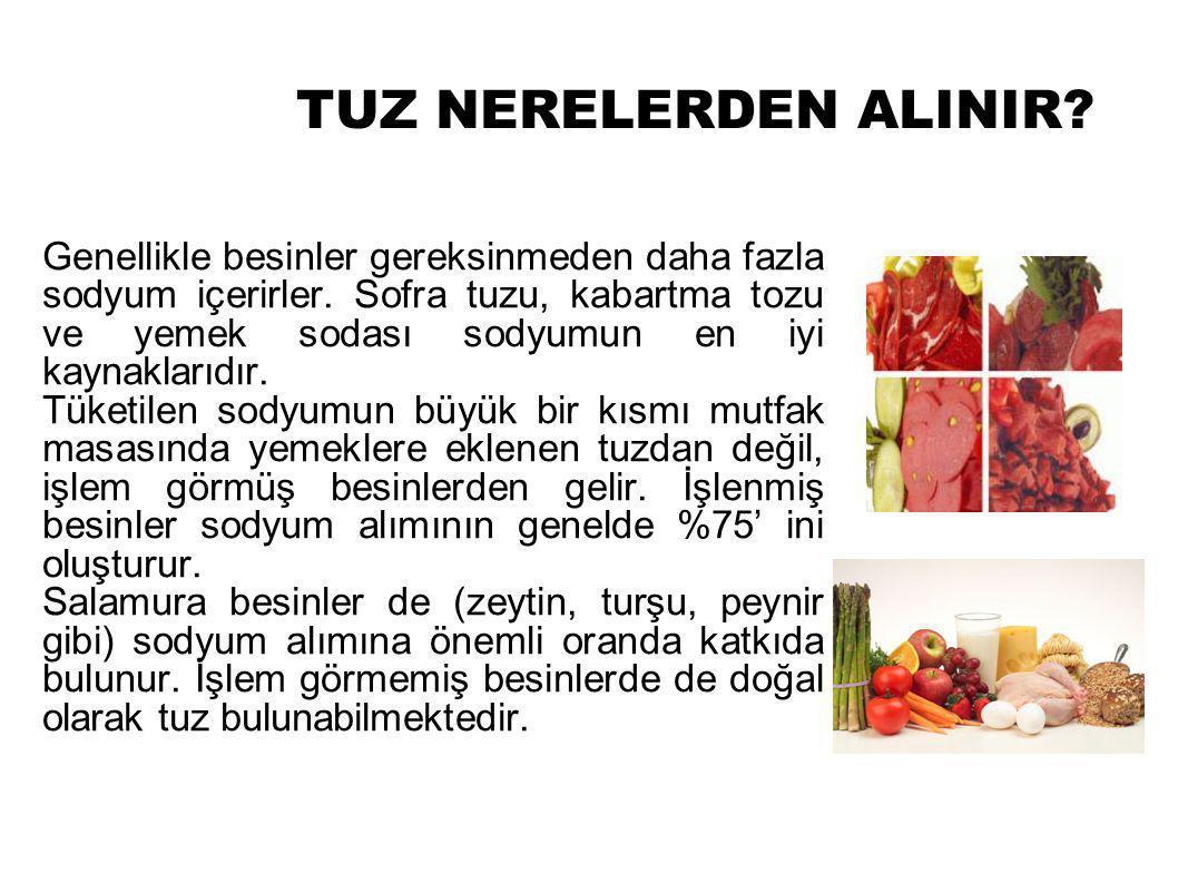 TUZ NERELERDEN ALINIR.Genellikle besinler gereksinmeden daha fazla sodyum içerirler.