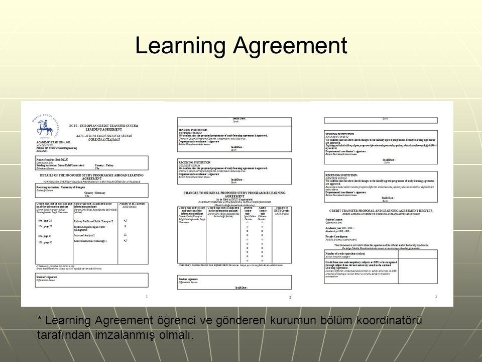 Learning Agreement * Learning Agreement öğrenci ve gönderen kurumun bölüm koordinatörü tarafından imzalanmış olmalı.