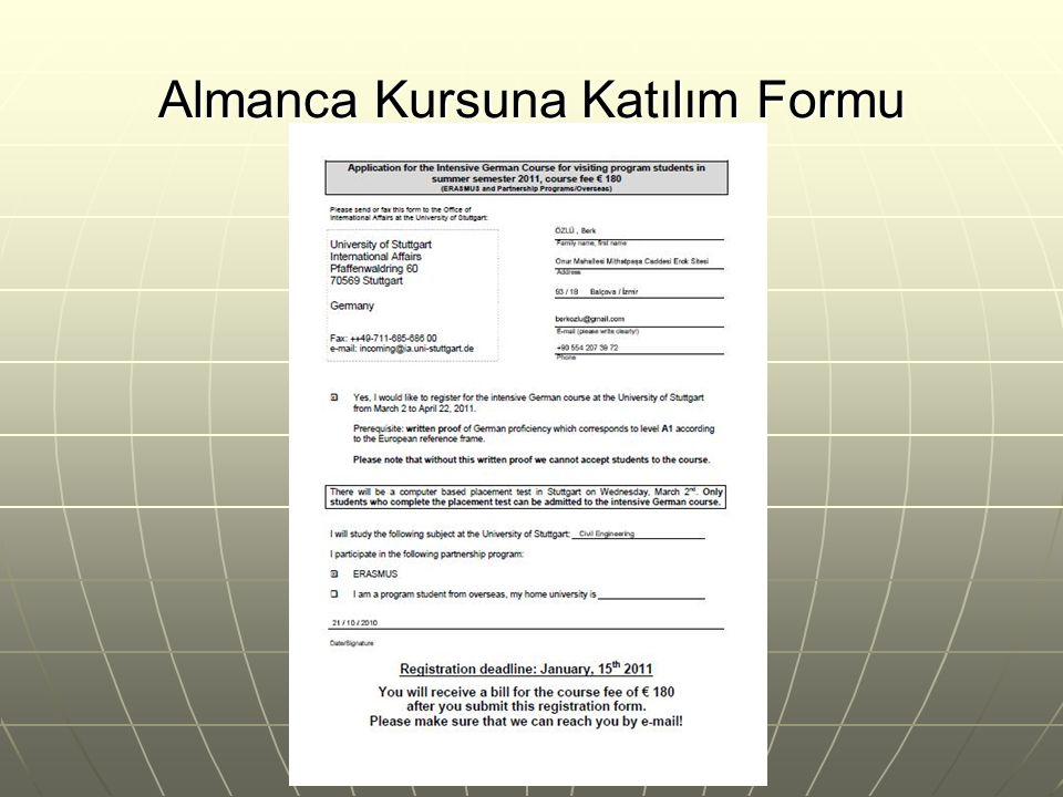 Almanca Kursuna Katılım Formu