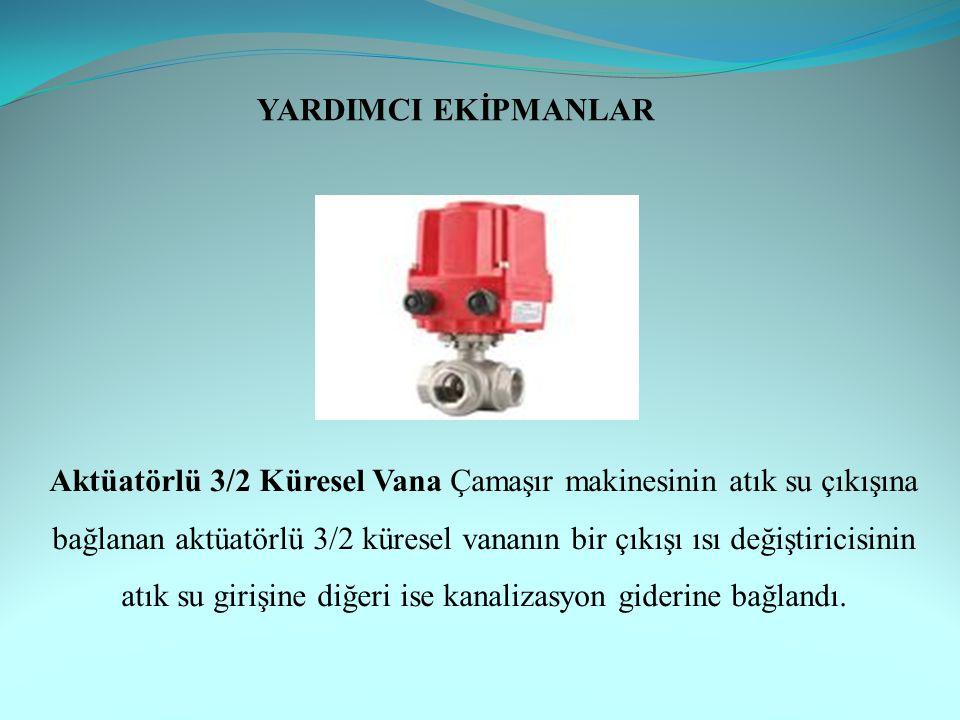 Aktüatörlü 3/2 Küresel Vana Çamaşır makinesinin atık su çıkışına bağlanan aktüatörlü 3/2 küresel vananın bir çıkışı ısı değiştiricisinin atık su girişine diğeri ise kanalizasyon giderine bağlandı.