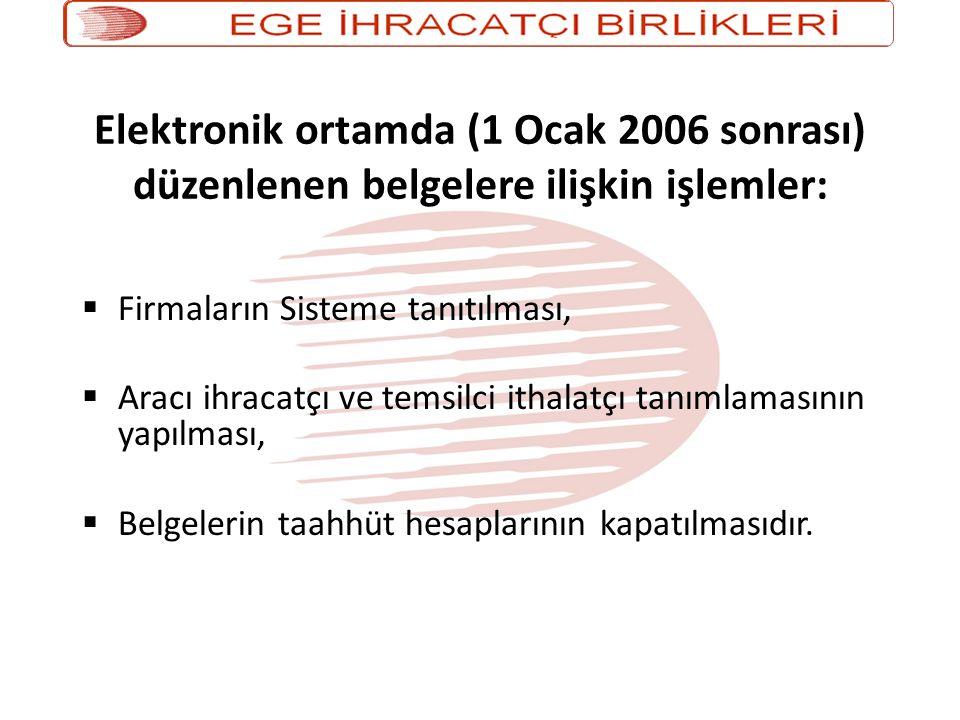 Elektronik ortamda (1 Ocak 2006 sonrası) düzenlenen belgelere ilişkin işlemler:  Firmaların Sisteme tanıtılması,  Aracı ihracatçı ve temsilci ithalatçı tanımlamasının yapılması,  Belgelerin taahhüt hesaplarının kapatılmasıdır.