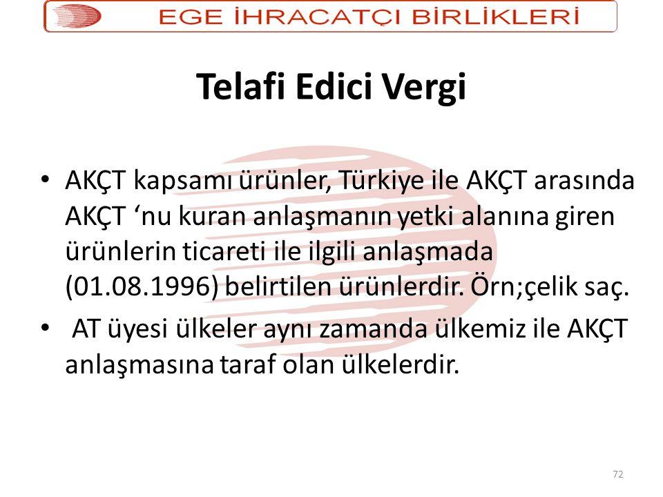 72 Telafi Edici Vergi • AKÇT kapsamı ürünler, Türkiye ile AKÇT arasında AKÇT 'nu kuran anlaşmanın yetki alanına giren ürünlerin ticareti ile ilgili anlaşmada (01.08.1996) belirtilen ürünlerdir.