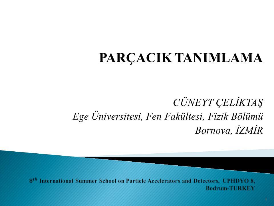 1 PARÇACIK TANIMLAMA CÜNEYT ÇELİKTAŞ Ege Üniversitesi, Fen Fakültesi, Fizik Bölümü Bornova, İZMİR