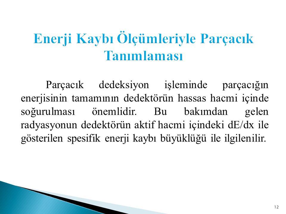 12 Parçacık dedeksiyon işleminde parçacığın enerjisinin tamamının dedektörün hassas hacmi içinde soğurulması önemlidir.