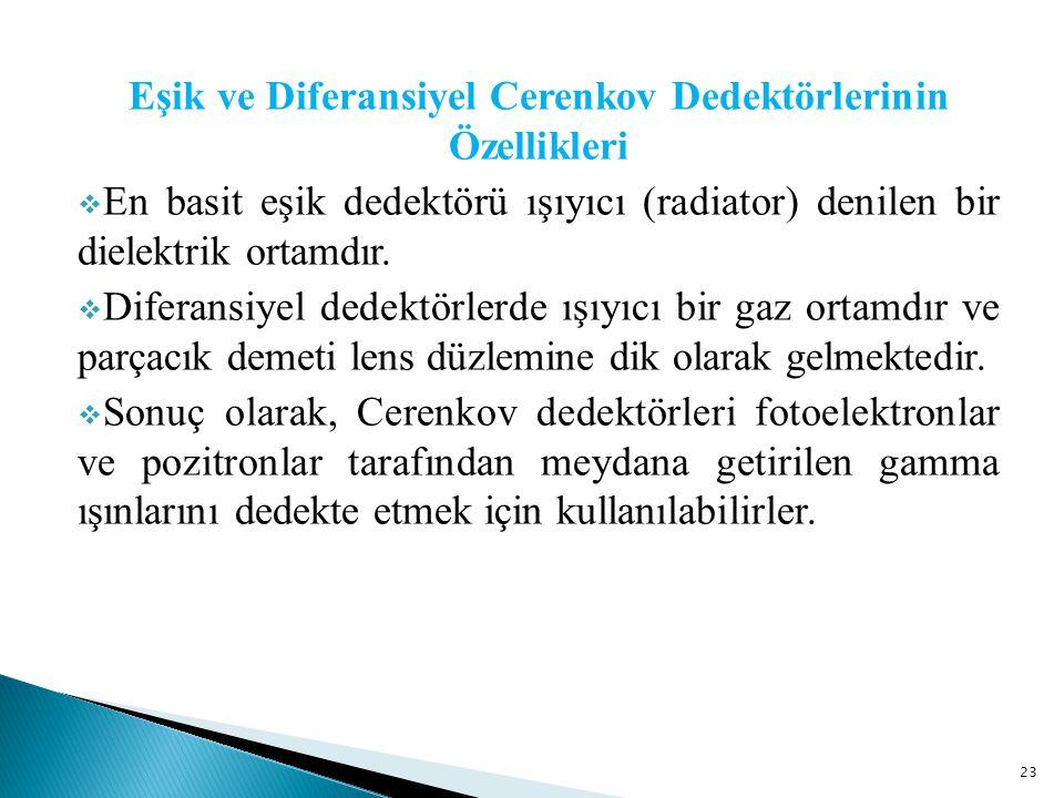 23 Eşik ve Diferansiyel Cerenkov Dedektörlerinin Özellikleri  En basit eşik dedektörü ışıyıcı (radiator) denilen bir dielektrik ortamdır.