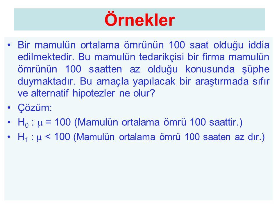 Örnekler •Bir mamulün ortalama ömrünün 100 saat olduğu iddia edilmektedir. Bu mamulün tedarikçisi bir firma mamulün ömrünün 100 saatten az olduğu konu