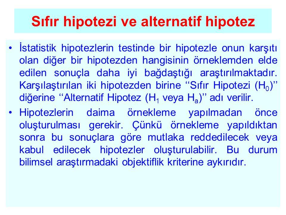 Sıfır hipotezi ve alternatif hipotez •İstatistik hipotezlerin testinde bir hipotezle onun karşıtı olan diğer bir hipotezden hangisinin örneklemden eld