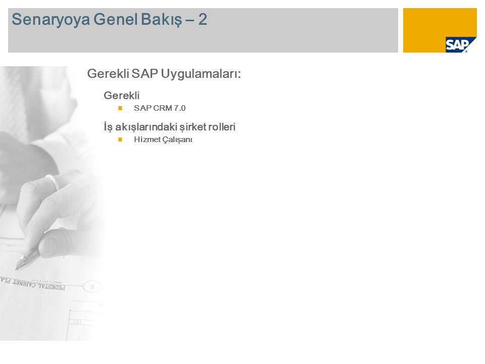 Senaryoya Genel Bakış – 2 Gerekli  SAP CRM 7.0 İş akışlarındaki şirket rolleri  Hizmet Çalışanı Gerekli SAP Uygulamaları: