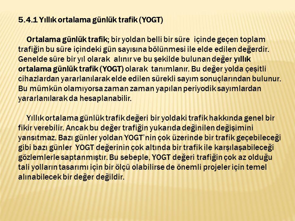 5.4.1 Yıllık ortalama günlük trafik (YOGT) Ortalama günlük trafik; bir yoldan belli bir süre içinde geçen toplam trafiğin bu süre içindeki gün sayısına bölünmesi ile elde edilen değerdir.