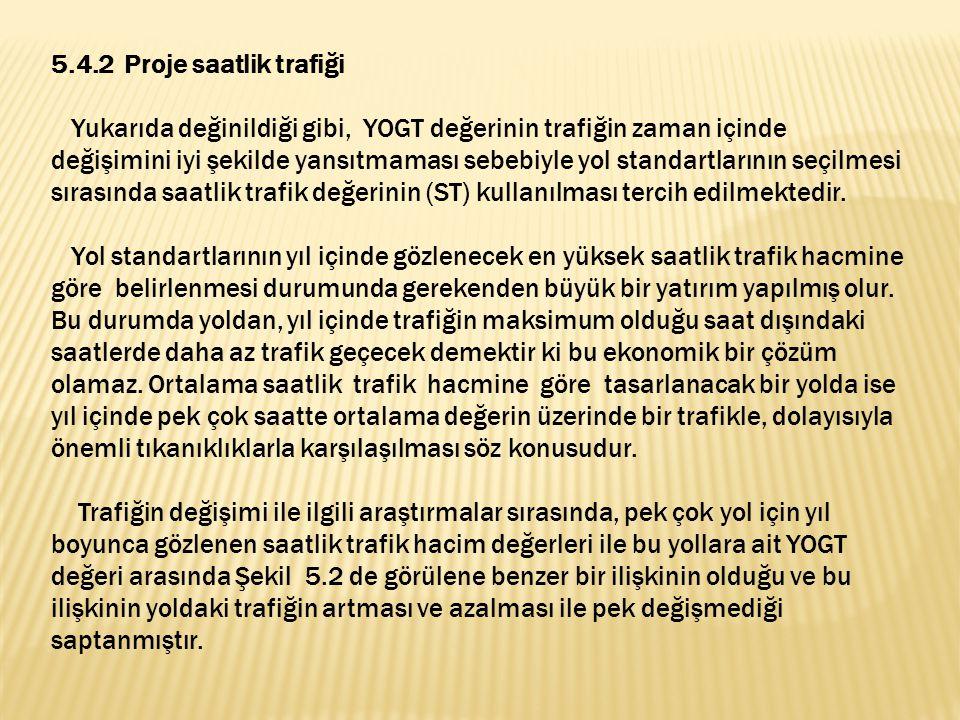 5.4.2 Proje saatlik trafiği Yukarıda değinildiği gibi, YOGT değerinin trafiğin zaman içinde değişimini iyi şekilde yansıtmaması sebebiyle yol standartlarının seçilmesi sırasında saatlik trafik değerinin (ST) kullanılması tercih edilmektedir.