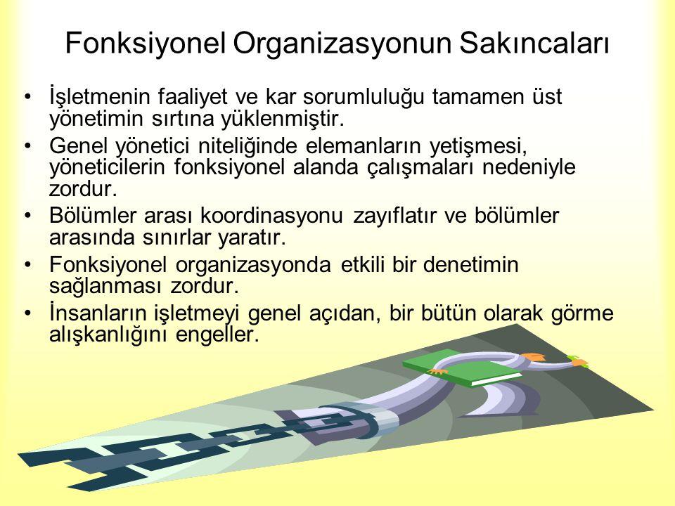 Fonksiyonel Organizasyonun Sakıncaları •İşletmenin faaliyet ve kar sorumluluğu tamamen üst yönetimin sırtına yüklenmiştir. •Genel yönetici niteliğinde