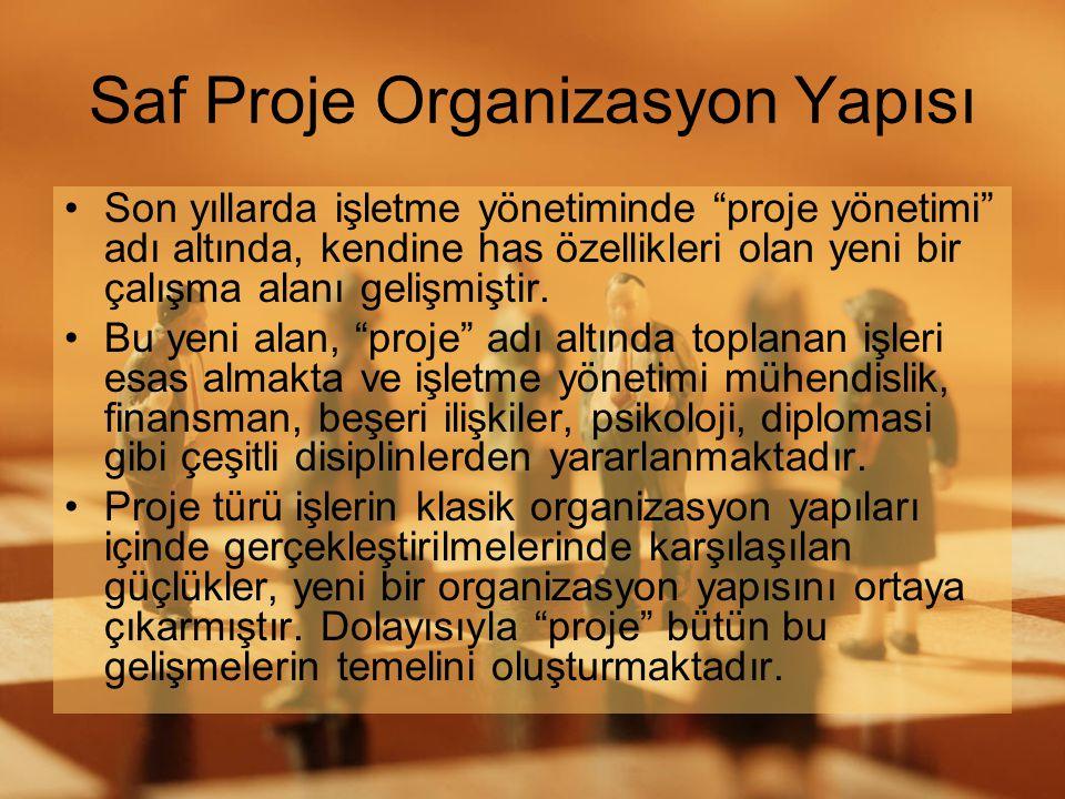 """Saf Proje Organizasyon Yapısı •Son yıllarda işletme yönetiminde """"proje yönetimi"""" adı altında, kendine has özellikleri olan yeni bir çalışma alanı geli"""