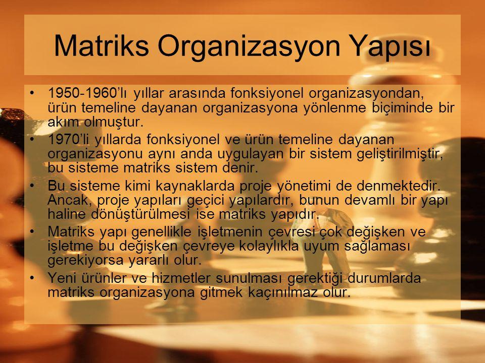 Matriks Organizasyon Yapısı •1950-1960'lı yıllar arasında fonksiyonel organizasyondan, ürün temeline dayanan organizasyona yönlenme biçiminde bir akım