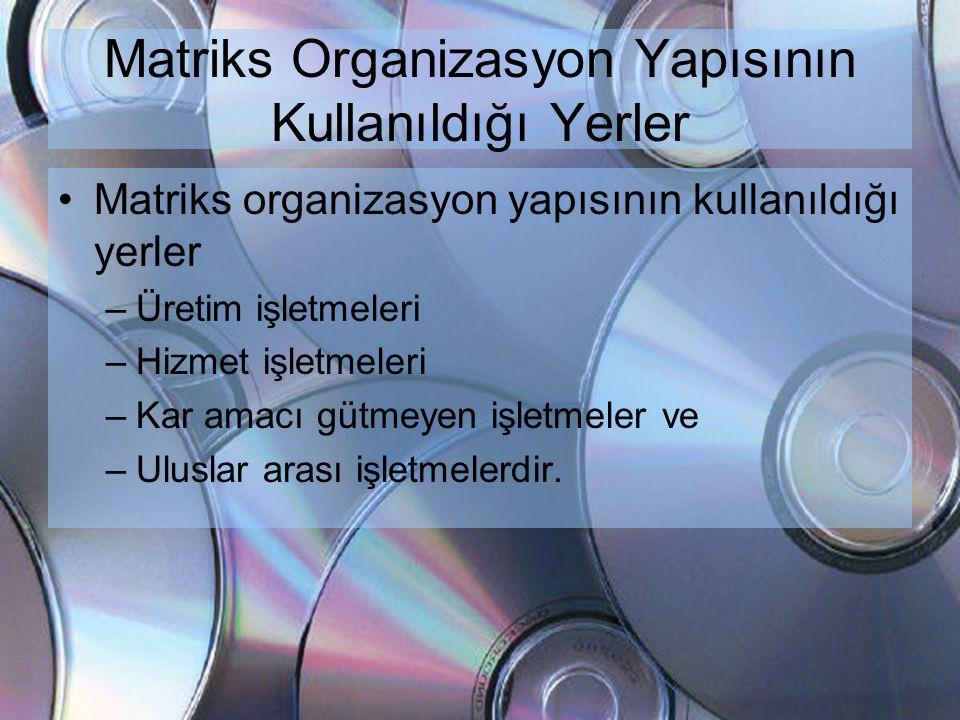 Matriks Organizasyon Yapısının Kullanıldığı Yerler •Matriks organizasyon yapısının kullanıldığı yerler –Üretim işletmeleri –Hizmet işletmeleri –Kar am