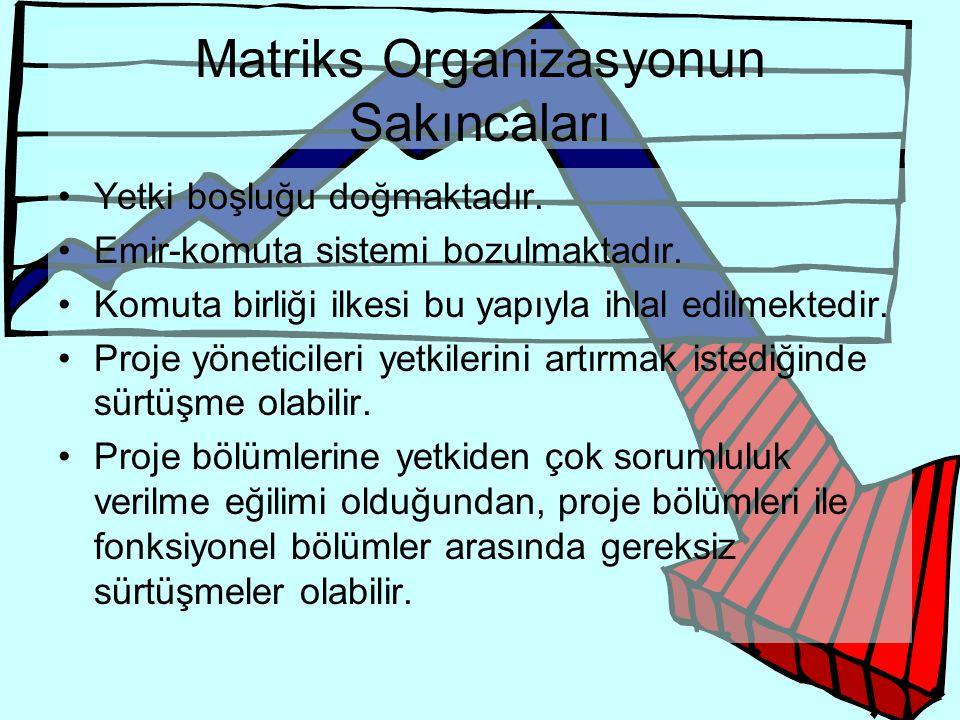 Matriks Organizasyonun Sakıncaları •Yetki boşluğu doğmaktadır. •Emir-komuta sistemi bozulmaktadır. •Komuta birliği ilkesi bu yapıyla ihlal edilmektedi