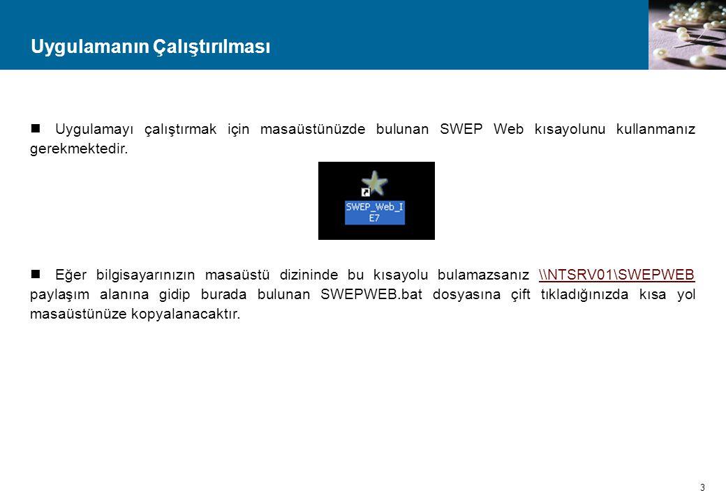 Uygulamanın Çalıştırılması  Uygulamayı çalıştırmak için masaüstünüzde bulunan SWEP Web kısayolunu kullanmanız gerekmektedir.  Eğer bilgisayarınızın