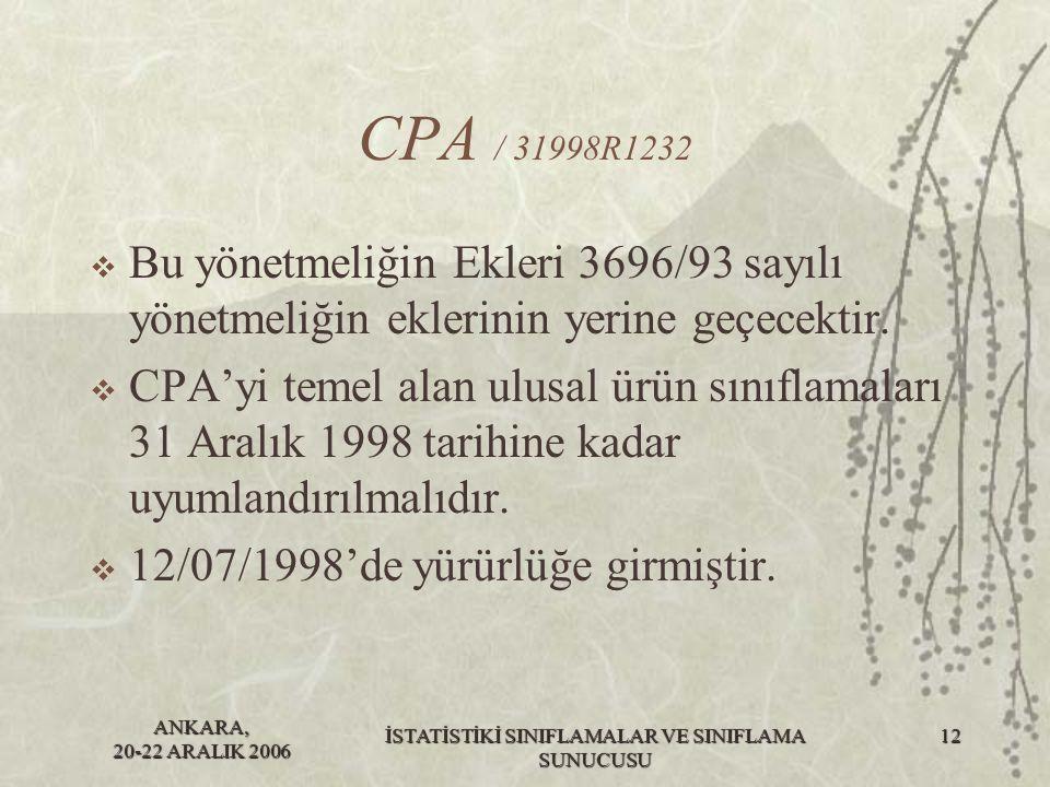 ANKARA, 20-22 ARALIK 2006 İSTATİSTİKİ SINIFLAMALAR VE SINIFLAMA SUNUCUSU 12 CPA / 31998R1232  Bu yönetmeliğin Ekleri 3696/93 sayılı yönetmeliğin ekle