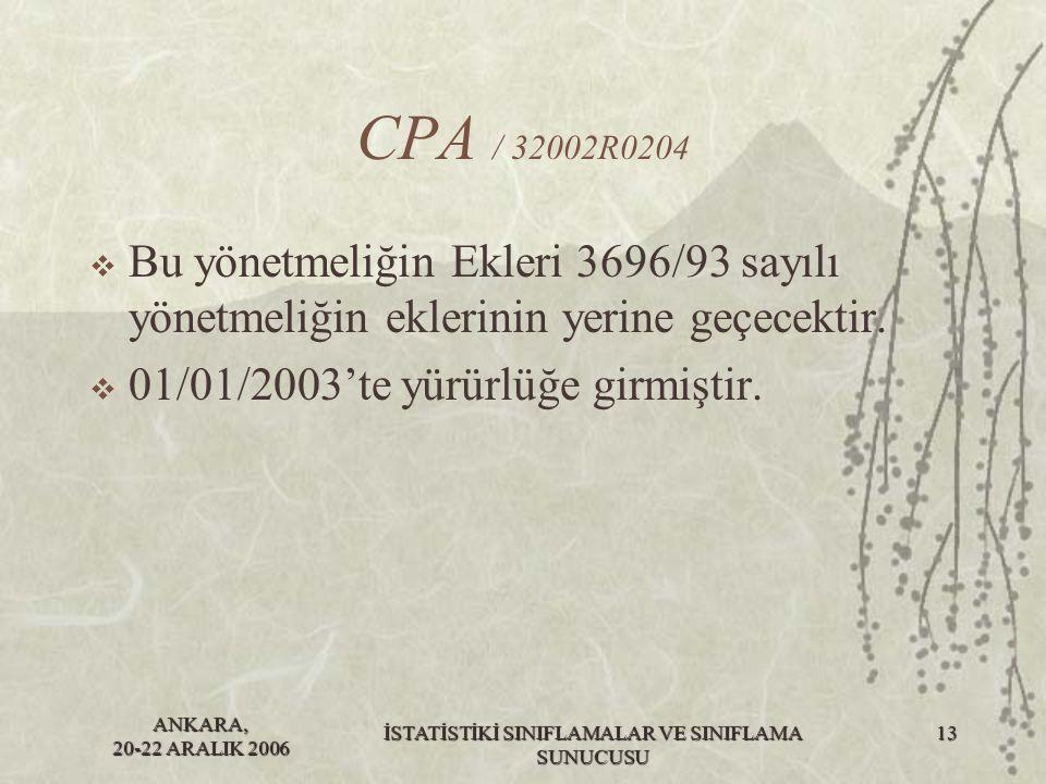 ANKARA, 20-22 ARALIK 2006 İSTATİSTİKİ SINIFLAMALAR VE SINIFLAMA SUNUCUSU 13 CPA / 32002R0204  Bu yönetmeliğin Ekleri 3696/93 sayılı yönetmeliğin ekle