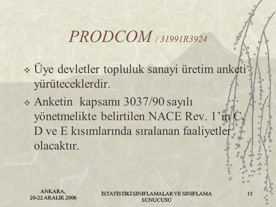ANKARA, 20-22 ARALIK 2006 İSTATİSTİKİ SINIFLAMALAR VE SINIFLAMA SUNUCUSU 16 PRODCOM / 31991R3924  Bu sektörde kayıt altına alınan ürünlerin listesi Prodcom listesi olarak adlandırılacaktır.