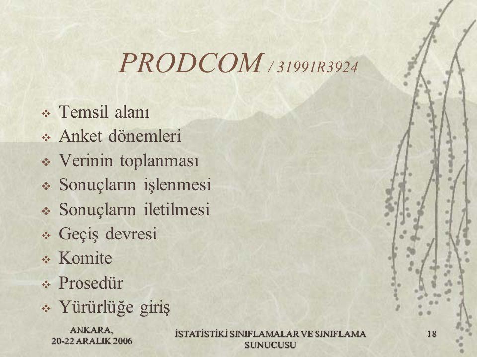 ANKARA, 20-22 ARALIK 2006 İSTATİSTİKİ SINIFLAMALAR VE SINIFLAMA SUNUCUSU 19 PRODCOM / 32004R0210  2004 yılı için Prodcom listesi bu yönetmeliğin ekinde verilmiştir.