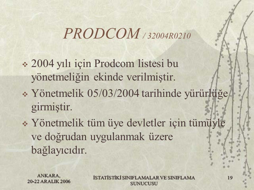 ANKARA, 20-22 ARALIK 2006 İSTATİSTİKİ SINIFLAMALAR VE SINIFLAMA SUNUCUSU 19 PRODCOM / 32004R0210  2004 yılı için Prodcom listesi bu yönetmeliğin ekin