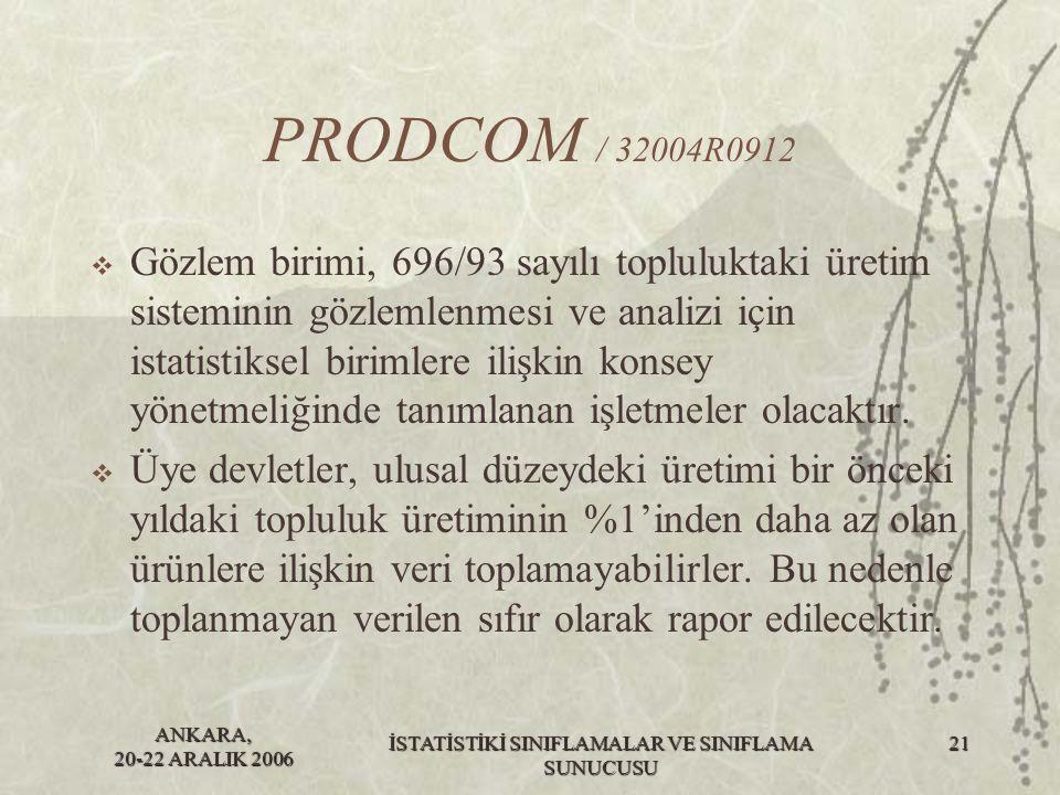 ANKARA, 20-22 ARALIK 2006 İSTATİSTİKİ SINIFLAMALAR VE SINIFLAMA SUNUCUSU 22 PRODCOM / 32004R0912  Bu yönetmelik 20/05/2004 tarihinde yürürlüğe girmiştir.