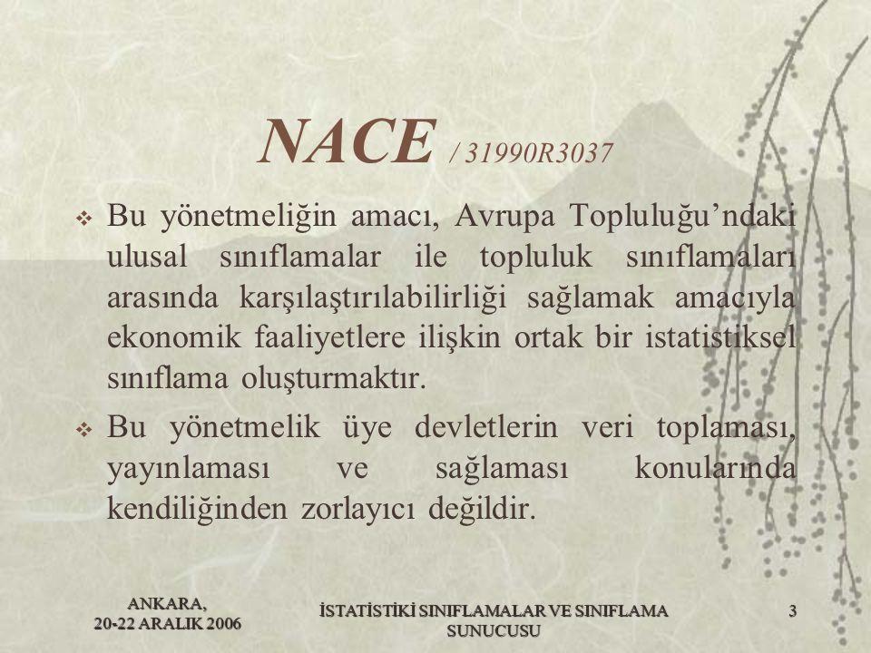 ANKARA, 20-22 ARALIK 2006 İSTATİSTİKİ SINIFLAMALAR VE SINIFLAMA SUNUCUSU 3 NACE / 31990R3037  Bu yönetmeliğin amacı, Avrupa Topluluğu'ndaki ulusal sı
