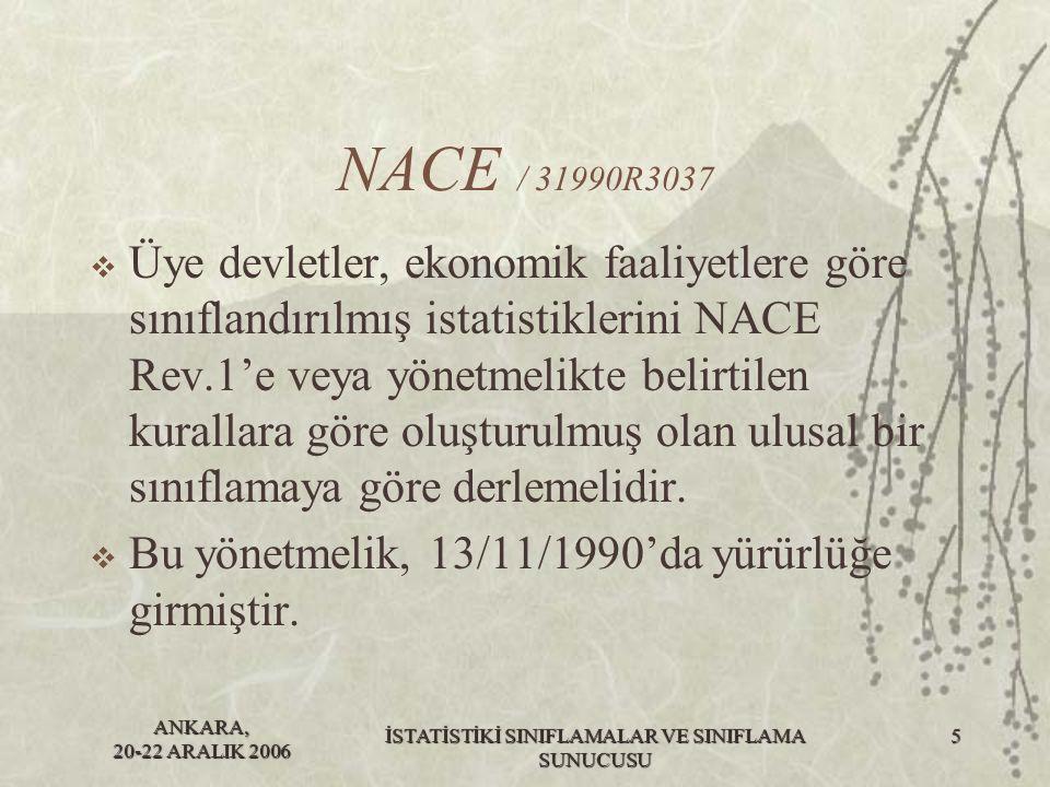 ANKARA, 20-22 ARALIK 2006 İSTATİSTİKİ SINIFLAMALAR VE SINIFLAMA SUNUCUSU 6 NACE / 31993R0761  Bu yönetmelik NACE Rev.