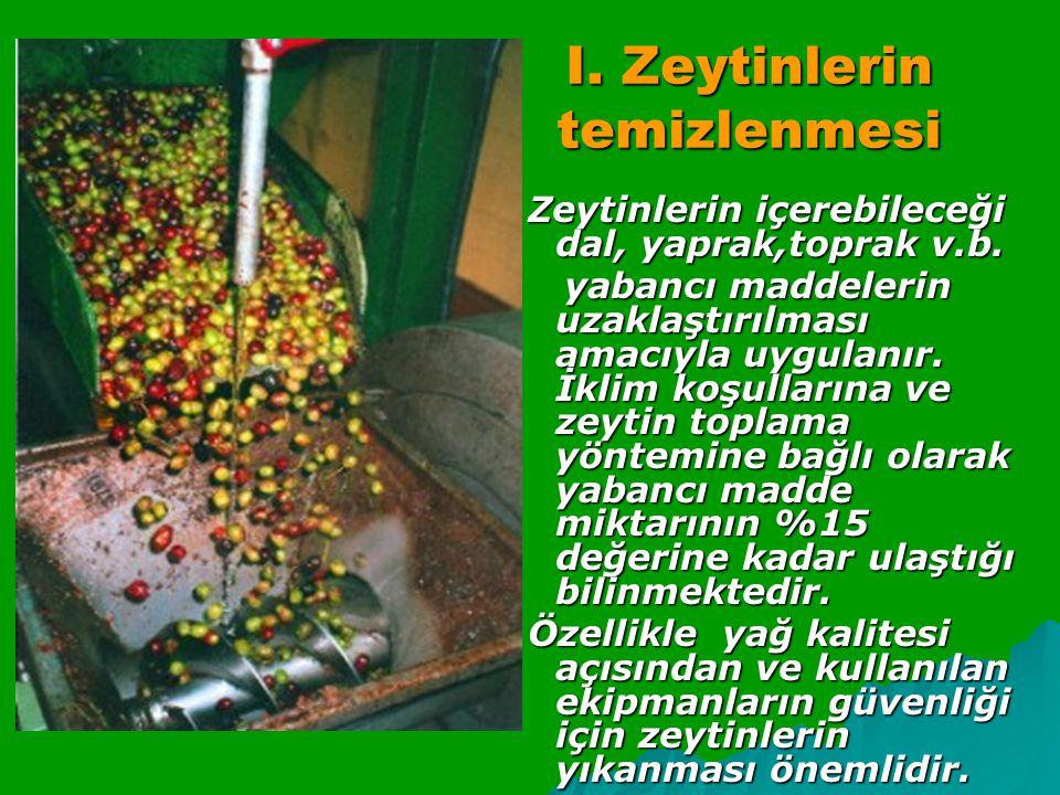 I.Zeytinlerin temizlenmesi Zeytinlerin içerebileceği dal, yaprak,toprak v.b.