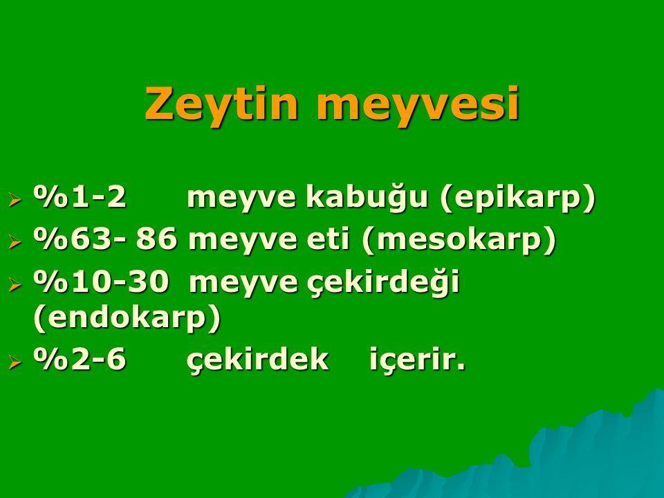 Zeytin meyvesi  %1-2 meyve kabuğu (epikarp)  %63- 86 meyve eti (mesokarp)  %10-30 meyve çekirdeği (endokarp)  %2-6 çekirdek içerir.