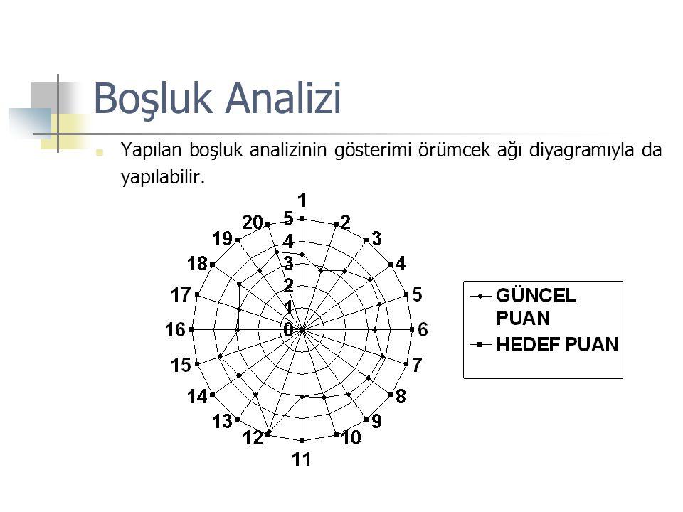  Yapılan boşluk analizinin gösterimi örümcek ağı diyagramıyla da yapılabilir.